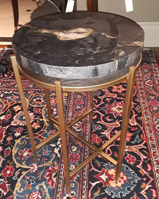 Round Brass Table With Marble Top