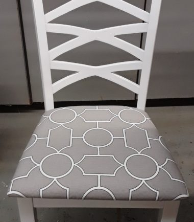 Set Of 6 Painted White Chairs