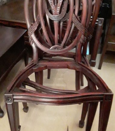 Set Of 7 Solid Mahogany Traditional Shield Back Side Dining Chairs