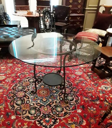 Twisted Wrought Iron Table With Glass Top