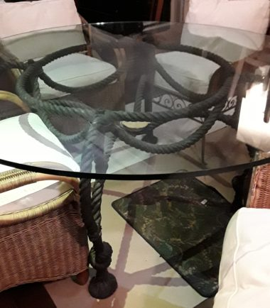 Wrought Iron Rope Table With Glass Top